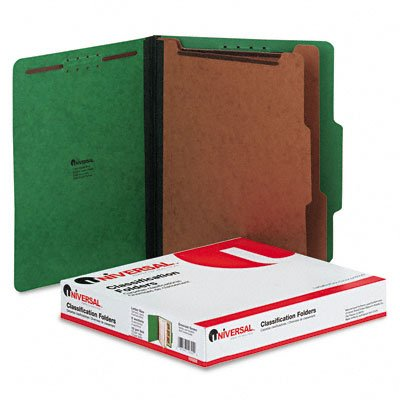 Universal Pressboard Classification Folders, Letter, Six-Section, Emerald Green, 10/Box Letter Six Section