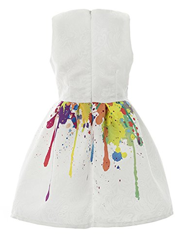 21KIDS Creative Art Colorful Paint Dress Print Summer Girls Casual Dresses Size 3-12
