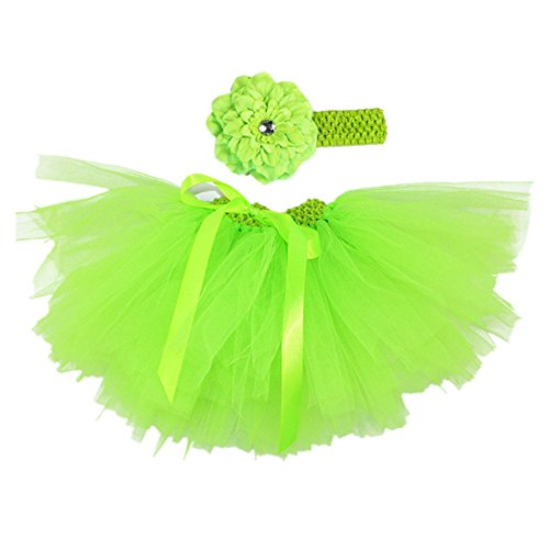 MizHome Newborn Baby Girls Birthday Layered Tulle Tutu Skirt Flower Peony Headwear Outfits Fruit Green (Tutu Peony)