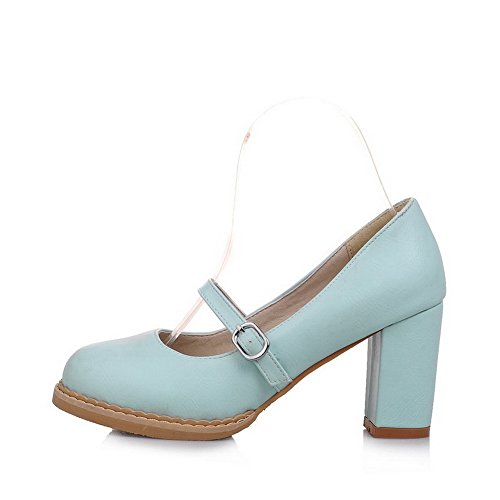 Amoonyfashion Para Mujer Kitten-heels Solid Pu Round-toe Pumps-Zapatos Blue