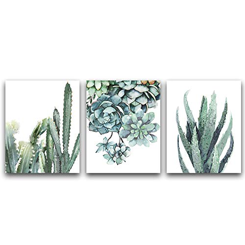 Green Leaf Photo - Unframed Succulent Plants Wall Art Print Simple Life Painting Set of 3(8''x10'') Canvas Nature Green Leaf Picture for Kitchen Living Room Decor