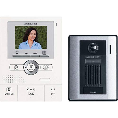Audio Master Station (Aiphone JKS-1AED Audio/Video Single-Door Intercom Set with Picture Recording, Includes Master Station with Image Recording, Power Supply, and Surface-Mount Door Station)