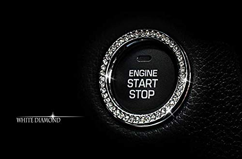Personality Car Interior Emblem Crystal Ring Sticker,Automotive Parts Start Engine Ignition Button Key & Knobs Key…