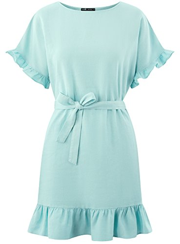 7000w Ultra Bleu Lin Robe oodji Volants en Femme p0ndwfWqPT