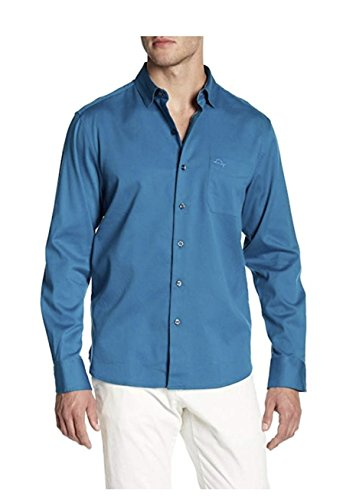 Tommy Bahama Men's Oasis Twill Solid Trim Fit Long Sleeve Button Front Shirt (XX-Large, Shipwreck) - Silk Twill Shirt