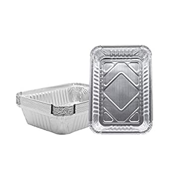 Set of 30 Pack Broiling Disposable Steam Table Grill Drip Deep Trays Baking Meal Cooking Half Size Chafing Pans 8.5 X 6 X 1.5 inch Aluminum Foil Pans Roasting Heating Buffet Trays Tin Pans