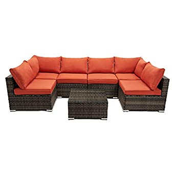 Amazon.com: 7 Pieces Patio Furniture Sets, Outdoor PE Rattan ...