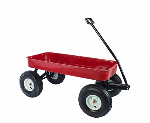 330 Lb Capacity All Purpose Red Wagon Cart with Removable Wooden Railing Designed for Children or Gardening Terrian