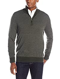 Oxford NY Men's Quarter Zip Wool-Blend Mock-Neck Sweater