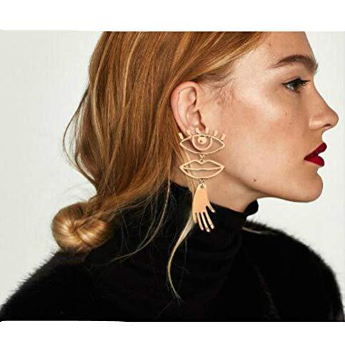 Taste Eyes and Lips Pierced Earrings Stitching Funny Alloy Earrings