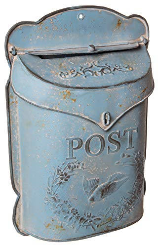 Mount Wall Mailbox Design (Red Co. Aged Blue Vintage Inspired Shabby Chic Large Metal Post Mail Box, Wall Mounted Design, 11 x 15 Inches)