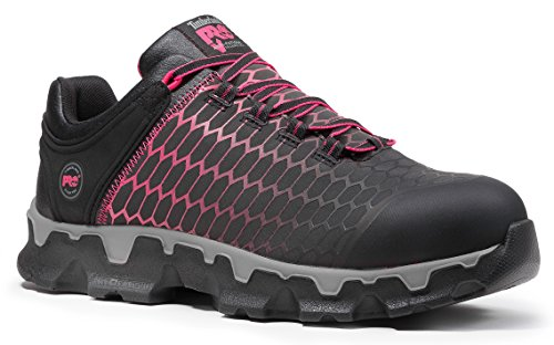 Timberland PRO Women's Powertrain Sport Alloy Safety Toe Shoe,Black Raptek with Pink,7.5 W US by Timberland PRO