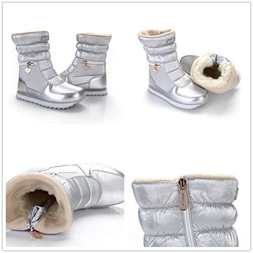 Eclair Doublee Bottines Chaussures Bottillons D'hiver Neige Femme Noir Noir Fermeture Bottes Pamray 41 mollet Leger amp;rose Argent Impermeable Mi Chaude 35 Ski Polaire Blanc Boots fdaqA7Aw6