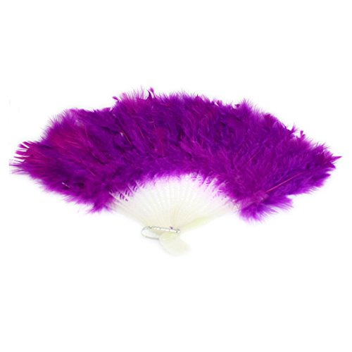 ASX Design Dancing Party Feather Folding Hand Fan 16 Inch Width - Purple