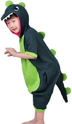 976a08469c54 Boys Girls Dragon Dinosaur Costume Kids Piggy Cow Hooded Short Sleeve  Pajamas