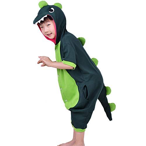 Boys Girls Dragon Dinosaur Costume Kids Piggy Cow Hooded Short Sleeve -