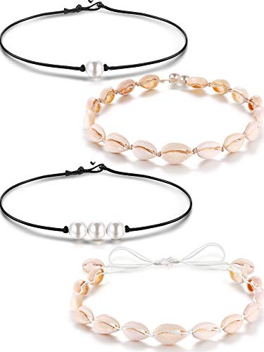 4 Pieces 3 Freshwater Pearl Necklace on Black Leather Cord and Shell Beads Necklaces Choker Hawaii Boho Summer Beach Jewelry Set for Women Girls (4 Pieces Style H)