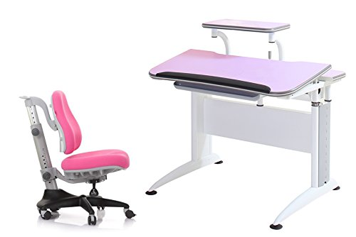 Reo-Smart ''Elite Alexis'' Height and Tilt Adjustable Desk and Chair Bundle Set with Shelf, Cord Concealers, Drawer. Premium Heavy Duty Ergonomic Design for Studying and Work. Made for all Ages. (Pink) by Reo-Smart
