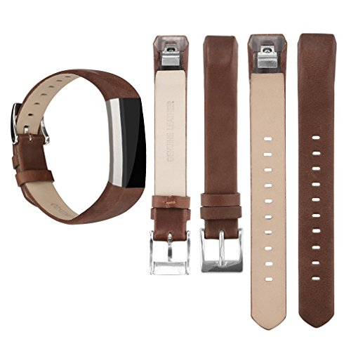 Tobfit Fitbit Alta HR and Fitbit Alta Leather Bands Replacement Leather Watch Bands With Stainless Steel Buckle for Fitbit Alta HR and Alta (Chocolate Brown+Suede Grey) by Tobfit (Image #4)