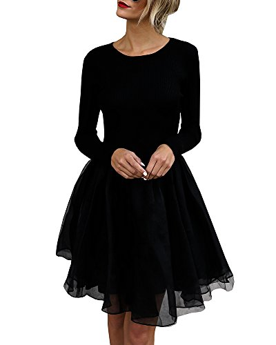 Gobought Dress for Women Sexy Long Sleeve Slim Tunic Dress Skater Dress T Shirt Dress Cocktail (X-Large, Black)