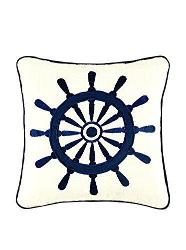 C and F Enterprises Nantucket Dream 14 x 14 in. Embroidered Ships Wheel Pillow ()