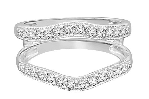 4K white gold .50 carat round Cut diamond solitaire enhancer two swirling bands solitaire ring guard wrap wedding band (white-gold) (Diamond Solitaire Enhancers)