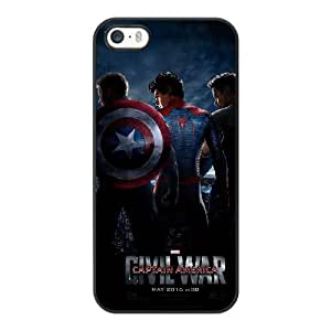 Grouden R Create and Design Phone Case, Cartoon-Captain America Civil War Cell Phone Case for iPhone 5 5S SE Black + Tempered Glass Screen Protector (Free) LPC-8035423