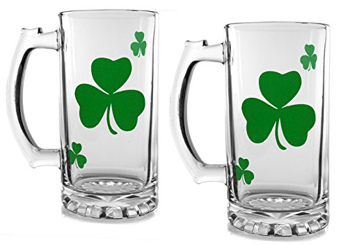 - Irish Beer Mugs - Set of 2 Clear Glass Beer Stein with Green Shamrock Design - St. Patrick's Day Mug
