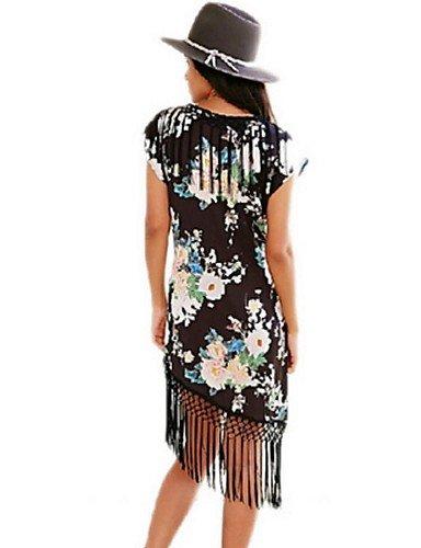 PU&PU Robe Aux femmes Gaine Street Chic,Fleur Col en V Asymétrique Polyester , black-3xl , black-3xl