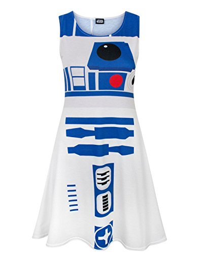 Star Wars R2D2 Women's Cosplay Costume Dress (M) White