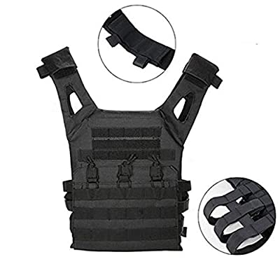 BYHai Tactical CS Field Assault Vest Law Enforcement Breathable Combat Training Vest Nylon Adjustable for Unisex Adults