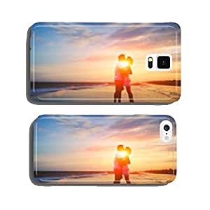 Newlywed married couple in romance on beautiful beach at sunset cell phone cover case Samsung S5