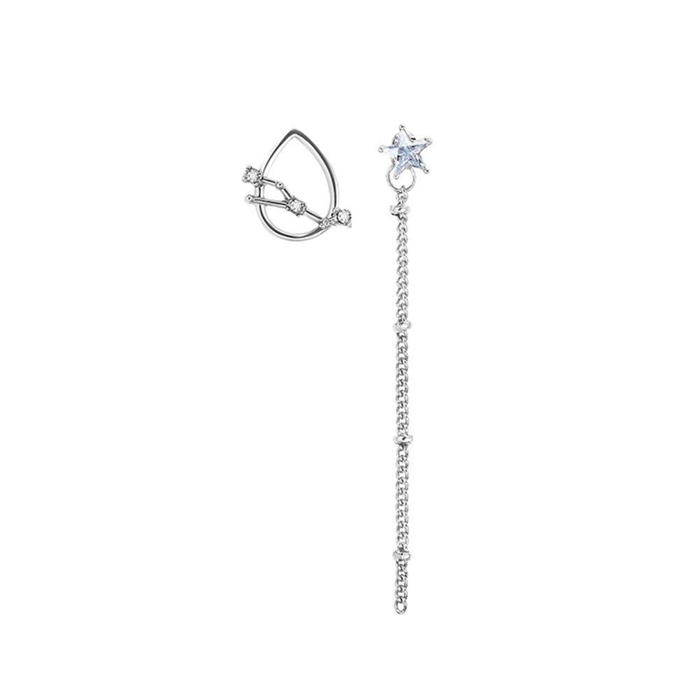 Himpokejg Women's Fashion Asymmetric Astrology Signs Teardrop Dangle Long Tassel Stud Earrings Gift - Silver Taurus