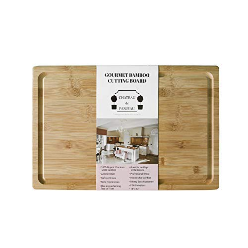 CHATEAU de FANJEAU - Extra Large Premium Organic BAMBOO CUTTING BOARD & SERVING TRAY - Wide Juice Groove prevents spilling; Perfect for Meat Vegetables Fruit Cheese Bread - 18x12 Handles