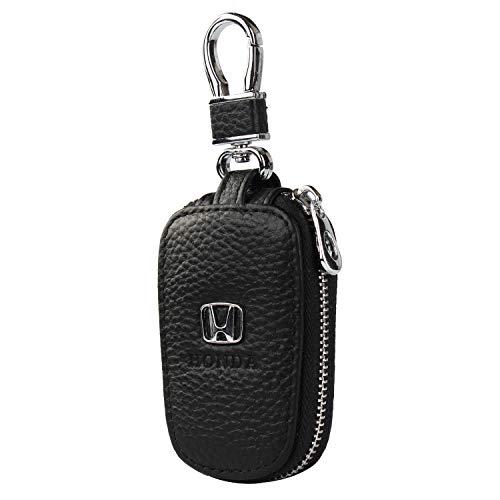 (car Key Chain Keychain,Genuine Leather Car Smart Key caseKey Chain Keychain Holder Metal Hook and Keyring Zipper Bag for Remote Key Fob (Honda))