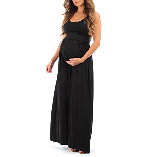 Sleeveless Ruched Maternity Dress (Mother Bee Women's Ruched Sleeveless Maternity Dress Regular and Plus Sizes - Made in USA (L, Black))
