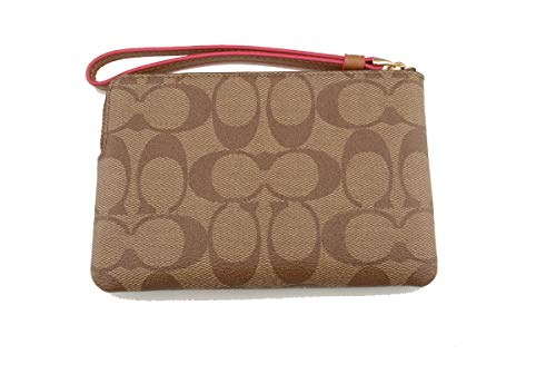 Coach Crossgrain Leather Corner Zip Wristlet Wallet (Khaki Neon Pink) by Coach (Image #1)