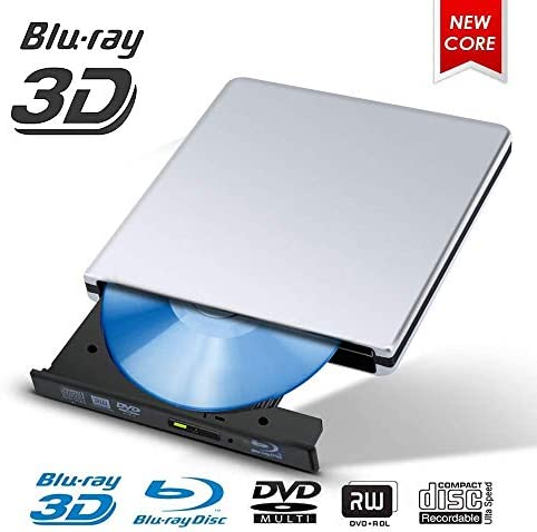 Lcxliga 外付けCD DVDドライブ、ポータブルUSB 3.0 CD DVDバーナーライタープレーヤー、Windows10 / 7/8向け24X高速データ転送、ラップトップ (Color : Silver)