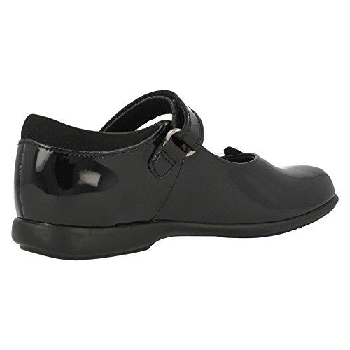 Clarks to School Trixi Inf Run Chaussures en cuir enduit noir verni