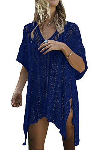 Minetom Costume Tunica Abito Bagno Cover Spiaggia Bikini Da Da Scuro Copricostumi Parei Colletto Allentato Beach Blu Maglieria Donna Estate Up Sexy V rq0Pw6r