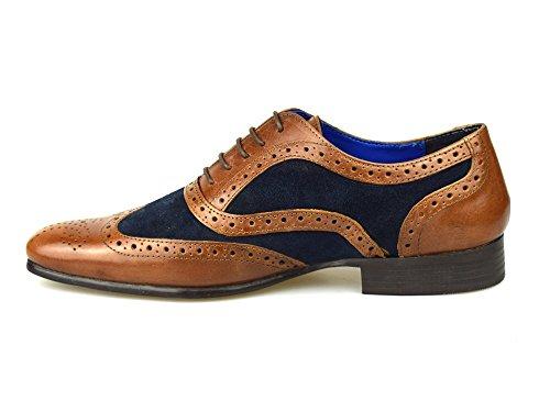 Rouge Bande Carn en cuir marron clair et en daim Marron clair/bleu marine Chaussures richelieu pour hommes