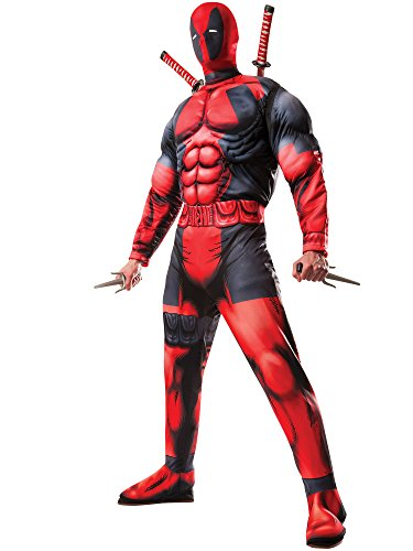 Men Costume 2016 (Rubie's Costume Co. Men's Classic Fiber-Filled Muscle Chest Deadpool Costume, Red, X-Small)