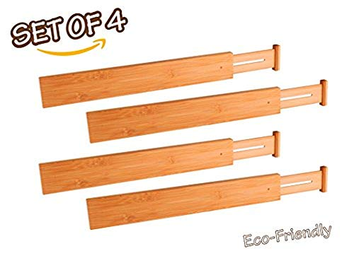 Adorn Home Essentials Bamboo Expandable/Adjustable Drawer Dividers/Organizers by Adorn, Tension Spring Loaded, Custom Fit, Eco-Friendly, Set of 4, Natural