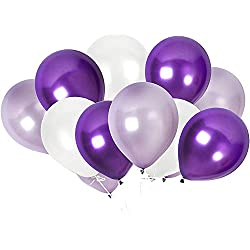 TOSOAR 100 Pack Latex Balloons 12 Inches Party Balloons for Wedding Decoration Birthdays Party Decorations Supplies (Plum Lavender and Lilac Purple and Pearl White)