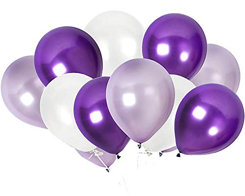 TOSOAR 100 Pack Latex Balloons 12 Inches Party Balloons for Wedding Decoration Birthdays Party Decorations Supplies (Plum Lavender and Lilac Purple and Pearl White) -