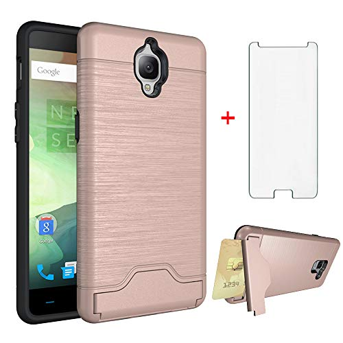 Phone Case for Oneplus 3 3T A3000 with Tempered Glass Screen Protector Cover and Card Holder Slim Wallet Kickstand Rugged Hard Cell Accessories Oneplus3 Oneplus3T 1 One Plus T 1plus 1+ 1+3T 1+3 Rose