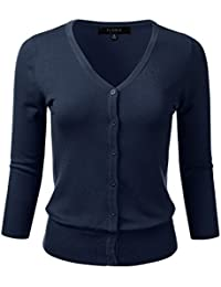 Womens Button Down 3/4 Sleeve V-Neck Stretch Knit...