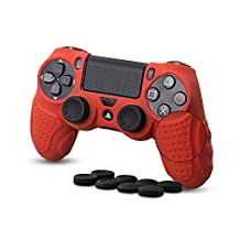 CHINFAI PS4 Controller Skin, Silicone Grips Cover Protector Cover Case for Sony PlayStation 4 Game Controller (Red)