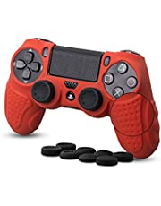 Silicone Skin compatible with PS4 Controller,Anti Slip Grips Cover Protector Cover Case fits PS4 Game Controller (Red)