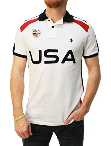 Polo Ralph Lauren Men Custom Fit USA Graphic Polo Shirt (Medium, White/Black/Red)